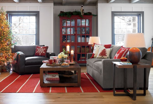 lodge style Christmas home decor with pillows in red and white