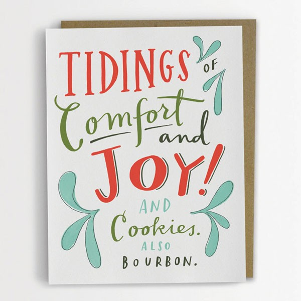 witty Christmas card about cookies and bourbon