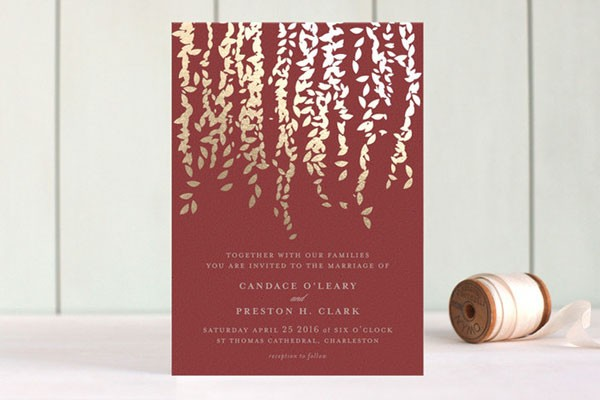 marsala wedding invitation with gold ivy tendrils