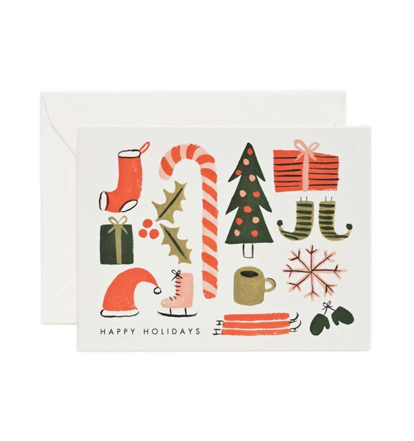 holiday card with illustrations of favorite winter things