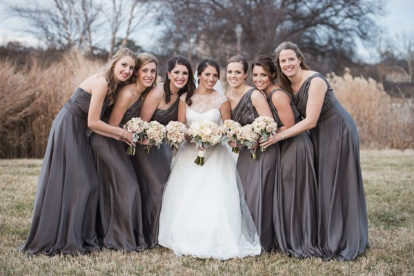 one shoulder charcoal gray bridesmaid dresses