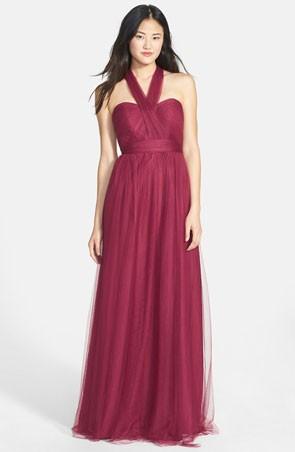 convertible bridesmaid dress in marsala with halter neckline