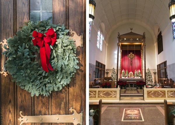 wreath on church door and decorated sanctuary for Christmas wedding
