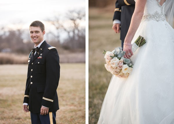 groom in uniform and bride with pale rose bouquet