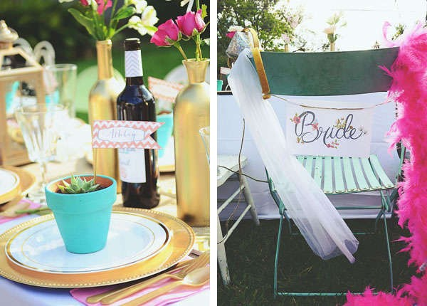 gold and aqua bridal shower tablescape