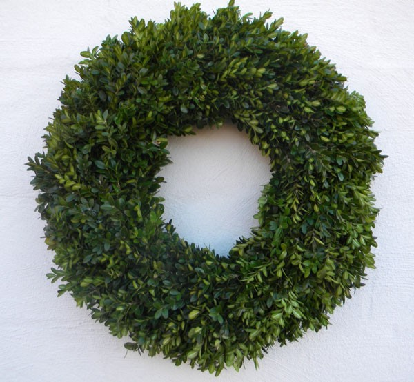 simple boxwood wreath for any season