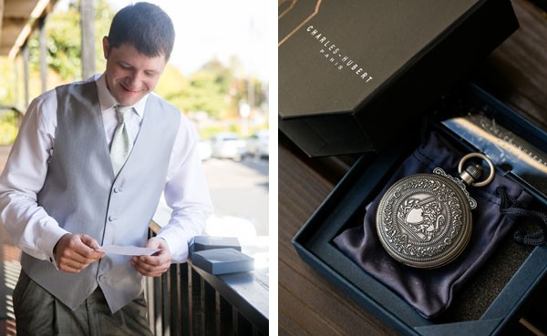 groom receives vintage inspired pocket watch from bride