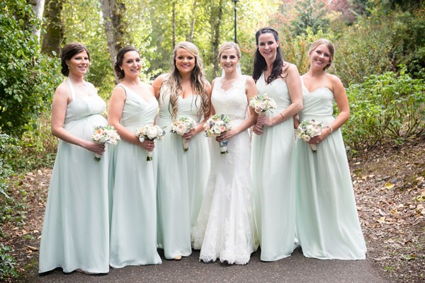 bridal party in floor length, flowy mint dresses