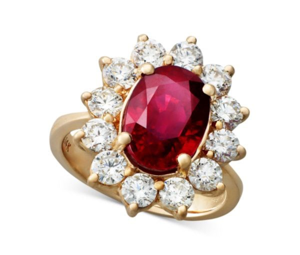 ruby and diamond engagement ring with floral setting