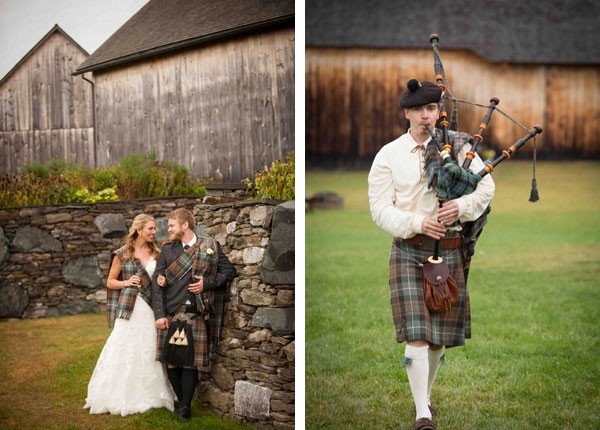 groom in kilt and bagpiper playing in field