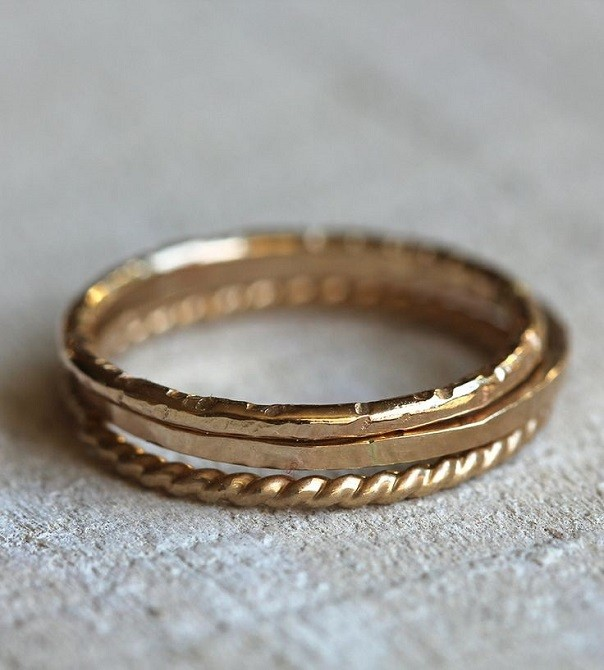 gold stacked wedding bands