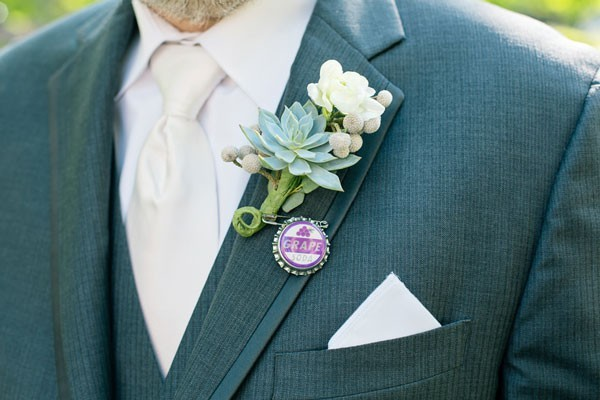 "succulent boutonniere with soda bottle cap pinn inspired by movie ""Up"""