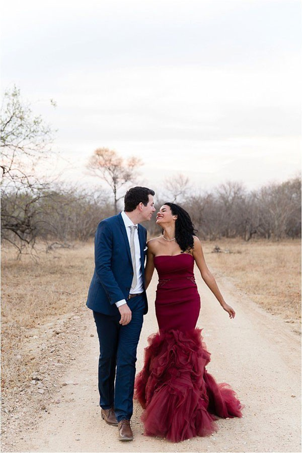 glamorous wine colored wedding dress in South Africa