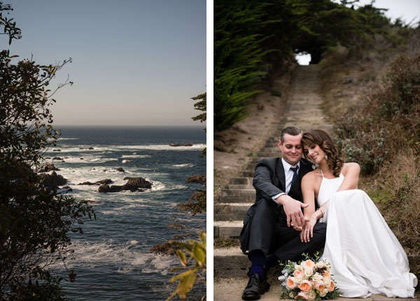 bride and groom on Northern California coast