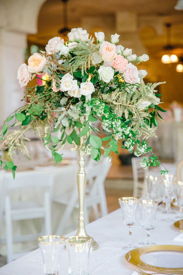 tall pink peony and rose centerpiece with greenery
