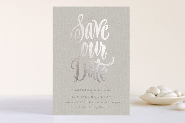 silver on gray save the date with simple script
