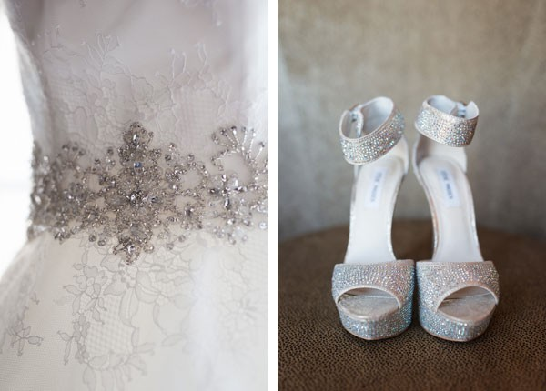 beaded, silver wedding dress sash and matching strappy heels