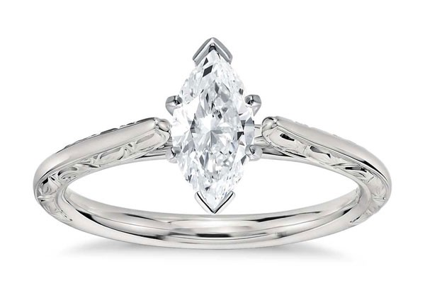 engagement ring with marquise cut diamond