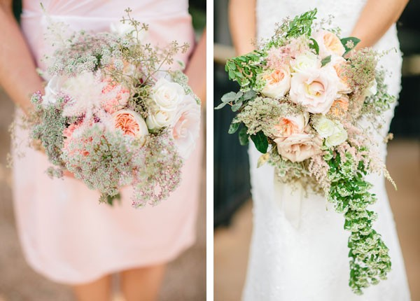 bride and bridesmaid bouquets with pale pink roses and greenery