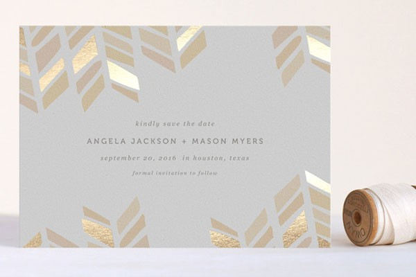 gold arrow head save the date with foil accents