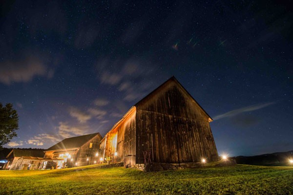 starry night over barn at farm wedding