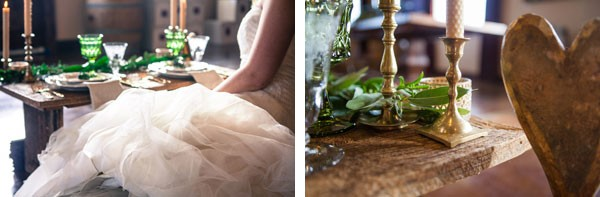 bride sitting at table with gold candlesticks and ivy