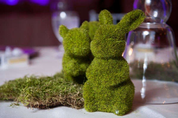 rustic fairy tale table decor with moss bunny rabbits