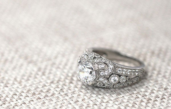 vintage diamond filigree engagement ring