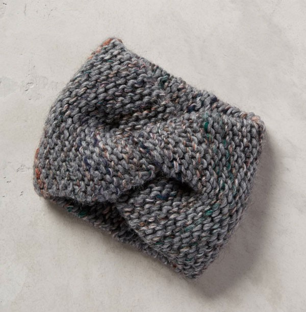 marled gray knit earband with twist