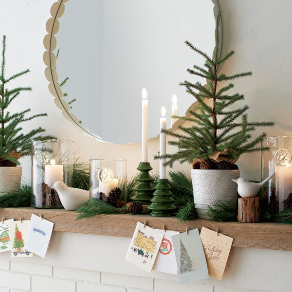 non holiday specific home decor in winter theme with pine and white