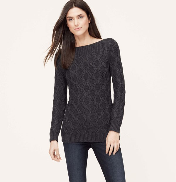 boatneck charcoal gray wool sweater