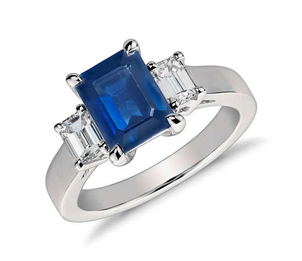 emerald cut sapphire and diamond engagement ring