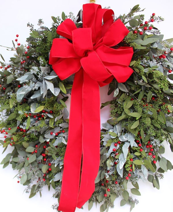 eucalyptus and red berry Christmas wreath with bow