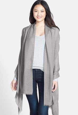 pale gray pashmina cashmere and wool wrap