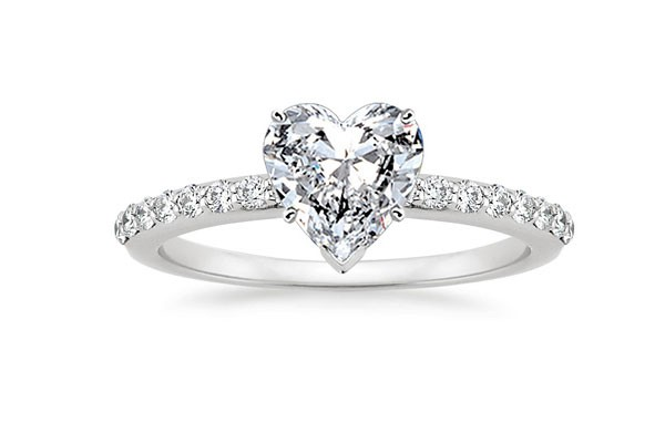 sparkly heart cut engagement ring