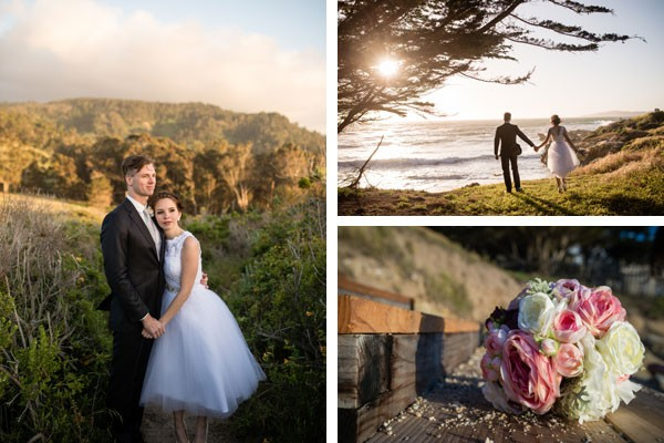 bride and pink peony bouquet with groom on California beach