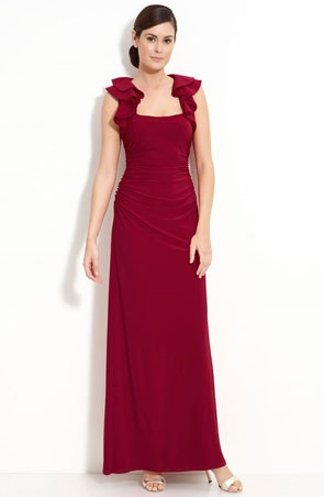 red bridesmaid dress with ruffled straps