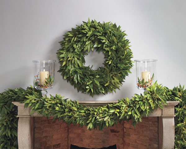 full bay leaf wreath with fireplace mantel swag