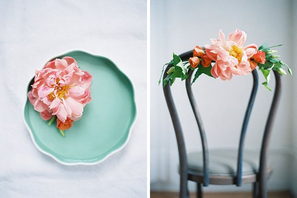 romantic wedding with blush garden roses and teal plate