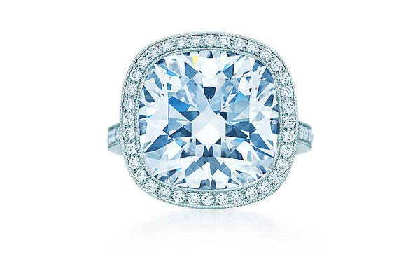 cushion cut engagement ring in halo setting