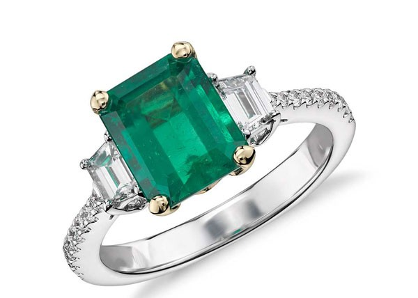 emerald and diamond platinum engagement ring
