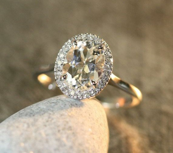pale topaz engagement ring with gold band