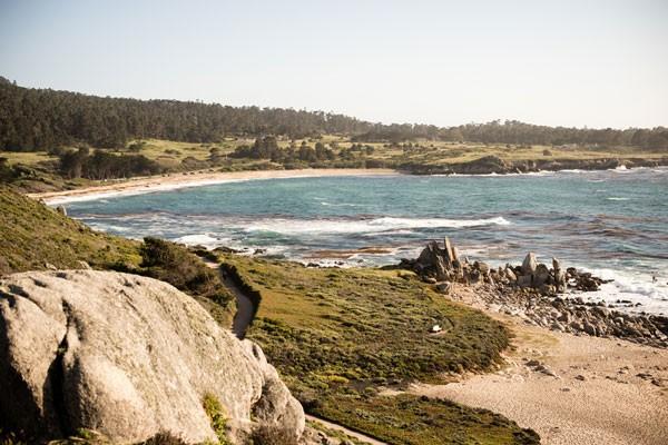 California beach with rocky path