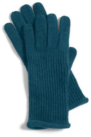 teal cashmere gloves with ribbed wrists
