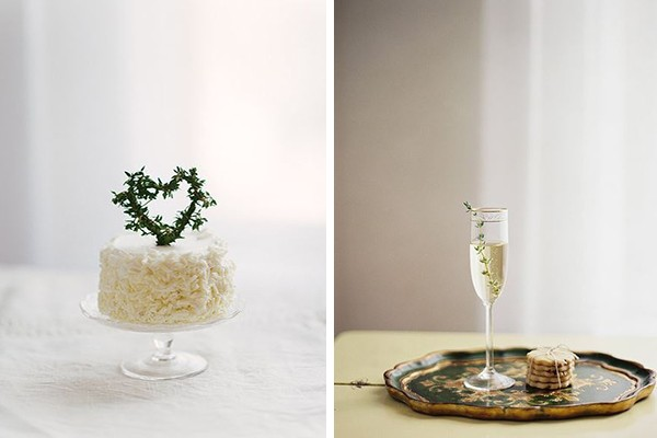 white cake and thyme champagne cocktail