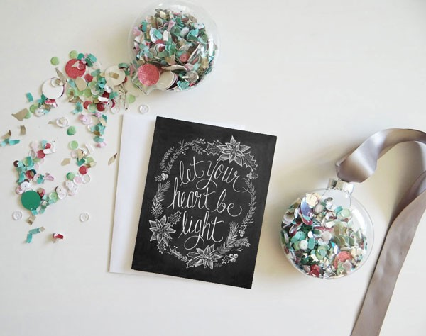 Let your heart be light Christmas card in chalkboard style