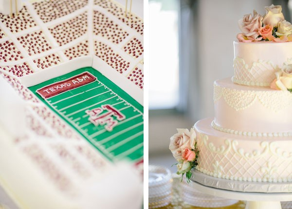 close-up of Aggie stadium on groom's cake and detailwork on golden wedding cake