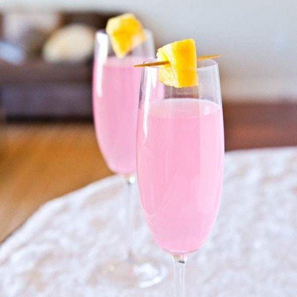 pink champagne coconut water cocktail