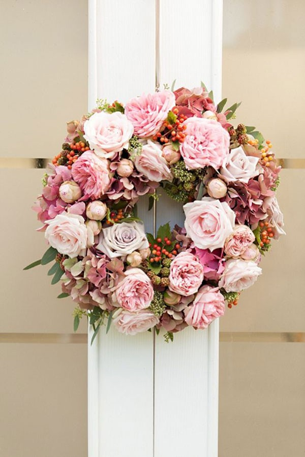 pink peony and rose wreath for summer wedding