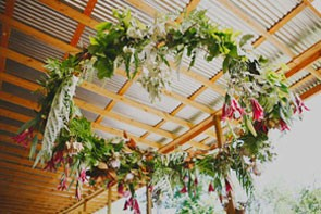 wreath hanging from ceiling like chandelier